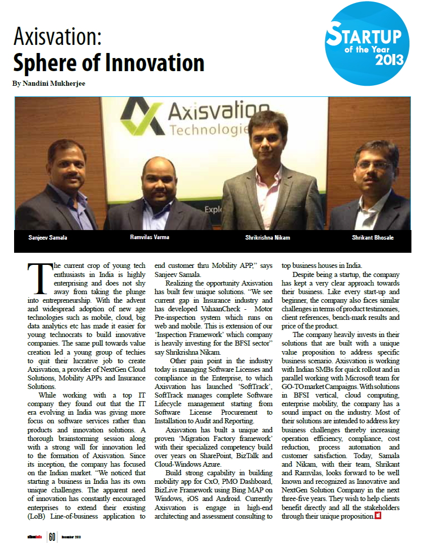 Axisvation as the Startup of the year 2013